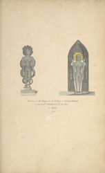 Two sculpted Jina figures at Sravana Belgola, 1801. 'Specimen of the Images in the Gallery at Sravana Bellacull a considerable Establishment of the Jain in Mysore 1801.'